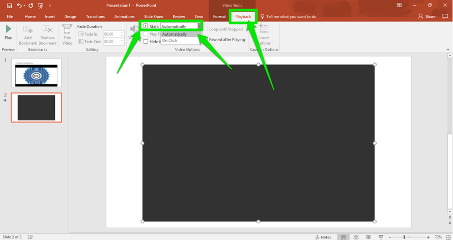 A Microsoft powerpoint is open. A video has been inserted. There are three green arrows on the slide, the first one is pointing at the playback tab in the ribbon menu. The second is pointed at the start button to tell the slide when to play the video and the third shows that the video is set to be played automatically as soon as the slide comes up.