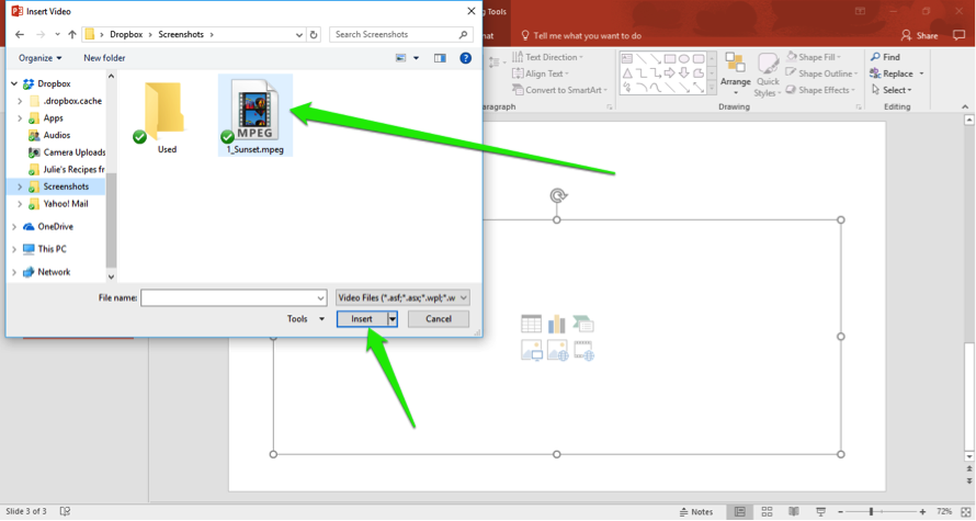 A Microsoft powerpoint is open. An insert video dialog box is open showing video files on the computer. There are two green arrows, one is pointing at the video that has been selected and the other at the insert button.