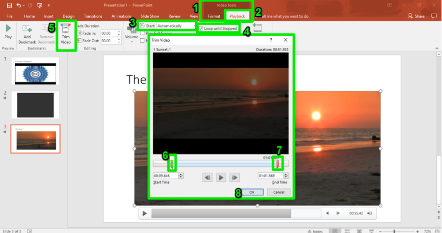 A Microsoft powerpoint is open. A video on the third slide has been inserted. There are 8 numbers showing different aspected of insuring the video into the powerpoint. The first shows where the video tools button is, the second shows where the playback tab is found, the third displays the start button, the fourth shows the loop until stopped feature, the fifth shows how to trim the video, the sixth points at where the start time toggle button is, while the seventh shows where the end time toggle button is and finally the eighth shows the ok button.