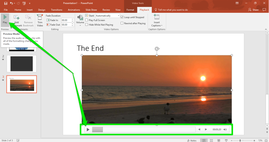 A Microsoft powerpoint is open. A video on the third slide has been inserted. Two green arrows show the two places where you can play the video.