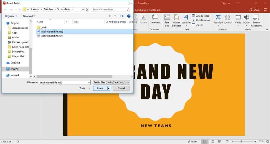 "A Microsoft Powerpoint with the title ""A Brand New Day"" is open. An insert audio dialog box has opened and an audio clip has been selected from the computers files."