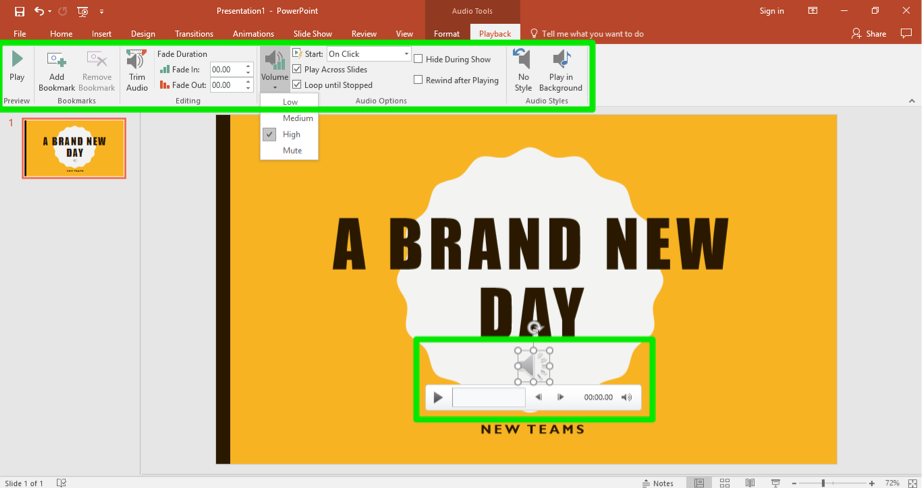 "A Microsoft Powerpoint with the title ""A Brand New Day"" is open. There is a green box highlighting the playback tab which is in the ribbon menu and another where the audio clip has been inserted."
