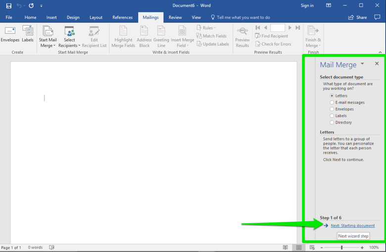 A blank Microsoft Word document is open. A mail merge menu has opened to the right of the document and there is a green box highlighting where it is located. A green arrow points at the option to go to the next starting document.