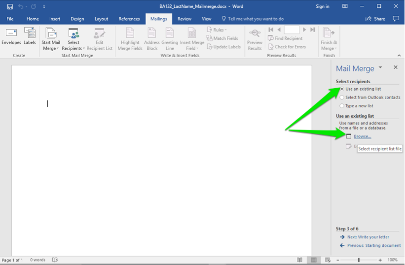 A blank Microsoft Word document is open. A mail merge menu has opened to the right of the document. A green arrow points at the option to use an existing list and another green arrow points at the button to browse.