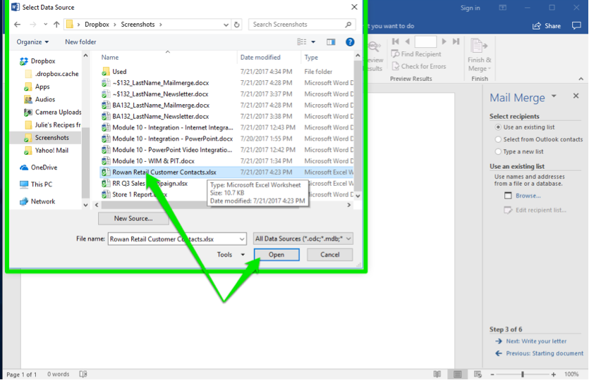 A blank Microsoft Word document is open. A mail merge menu has opened to the right of the document. A select data source dialog box has opened in front of the word document. There are two green arrows in the file finder, one is pointing at the selected data source and the other is pointing at the option to open the file.