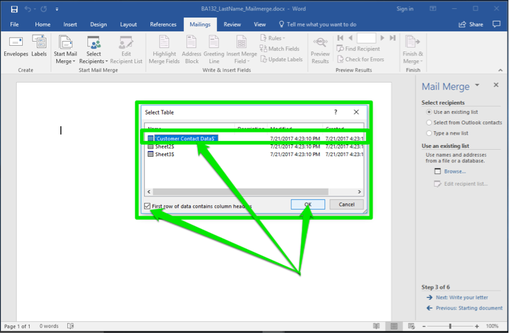 A blank Microsoft Word document is open. A mail merge menu has opened to the right of the document. A select table dialog box has opened with three green arrows highlighting different features. The first arrow is pointing at which table is set to be selected. The second arrow is pointing at a check box which states first row of data contains column headers and the third is pointing at the ok button to accept changes.
