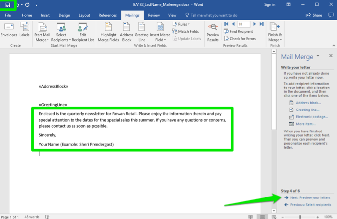 A Microsoft Word document is open. A mail merge menu has opened to the right of the document. There are two green boxes highlighting the page, one is showing where the content of the letter goes and the other shows where the save button is in Microsoft Word. A green arrow points to the next: preview your letters option.