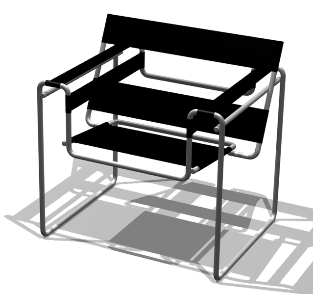A computer graphic of the famous chair designed by Marcel Breuer.