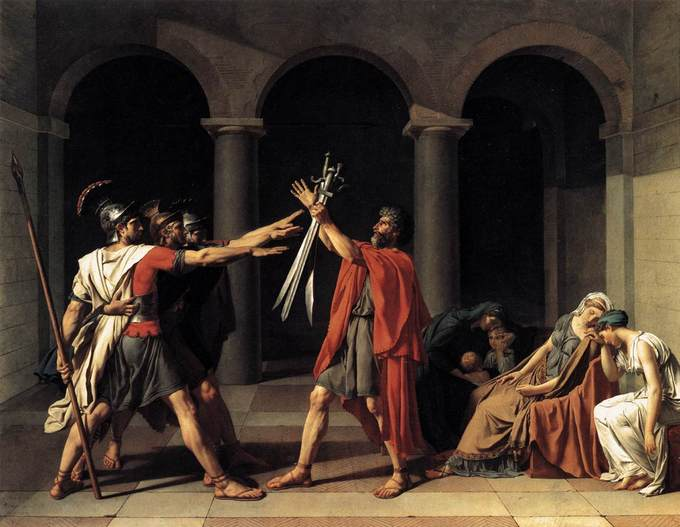 This painting depicts a scene from a Roman legend about a dispute between two warring cities: Rome and Alba Longa. It shows the three brothers of the Horatius family pledging their allegiance to Rome. They salute their father, who holds a sword.