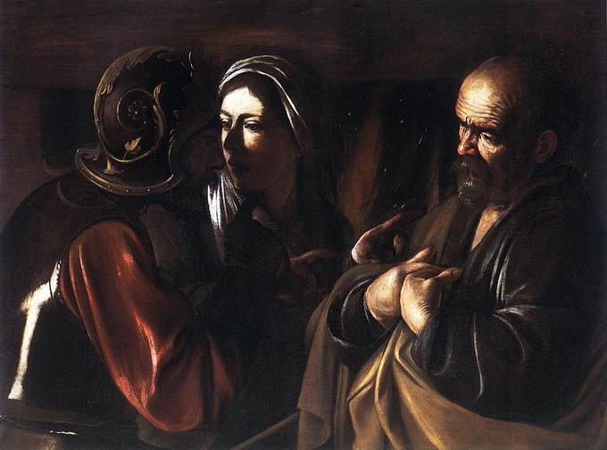 This painting depicts a scene from the New Testament. St. Peter is denying Jesus after Jesus was arrested.