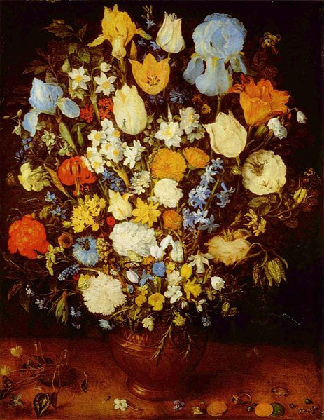 Painting depicts flowers arranged in a vase with smaller flowers at the base and larger flowers at the top. The flowers include roses, tulips, and forget-me-nots among others.