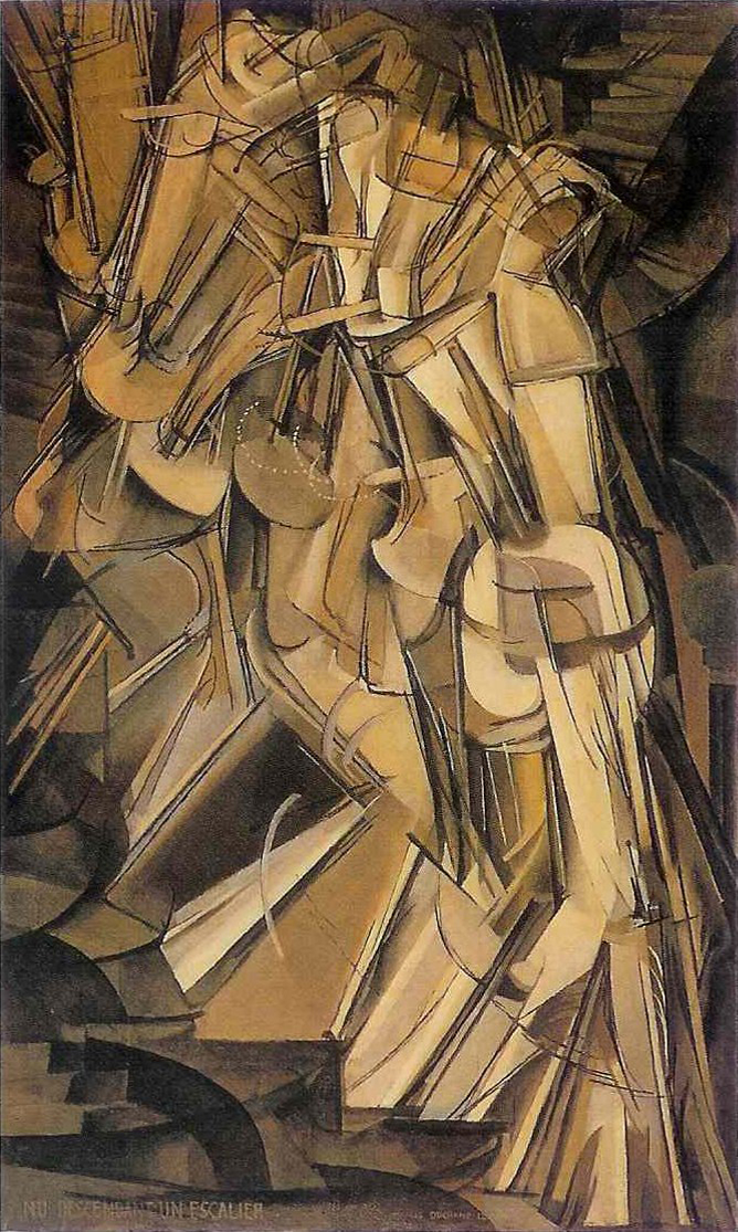 "Painting depicts a figure demonstrating an abstract movement. The discernible ""body parts"" of the figure are composed of nested, conical and cylindrical abstract elements, assembled together to suggest rhythm and convey the movement of the figure merging into itself."