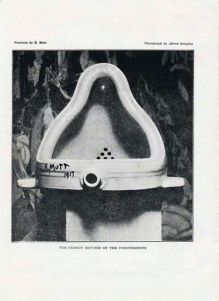 "Photograph depicting a porcelain urinal, which is signed ""R.Mutt"" in black script."