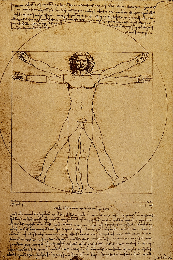 Drawing depicts a man in two superimposed positions with his arms and legs apart and inscribed in a circle and square.