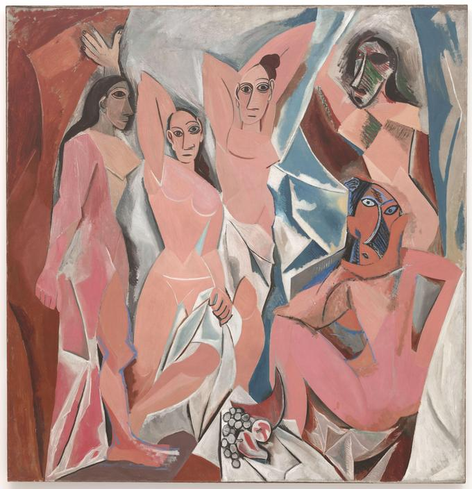 Painting that depicts five nude women. Their bodies are angular, composed of flat, splintered shapes. The placement of features on their faces is abstract rather than realistic.