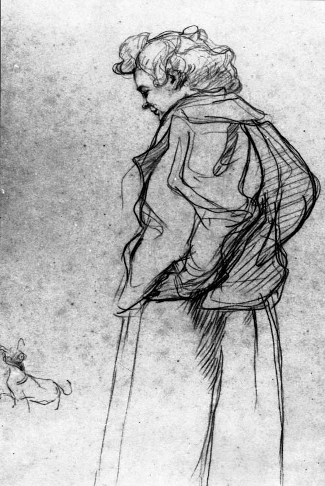 Sketch that depicts a woman and her dog. The woman is shown in profile, wearing a baggy coat. She smiles down at her small dog. The dog stands ahead of her, looking back with its mouth open as if barking.