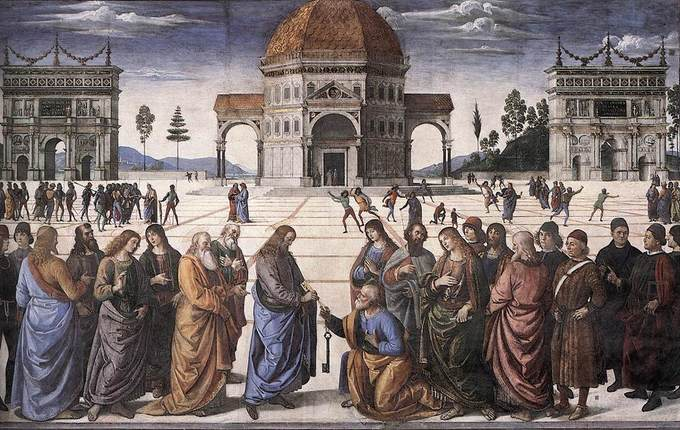 Painting depicts a scene from the Bible in which St. Peter is given the keys to Heaven. In the foreground, St. Peter kneels surrounded by apostles as Jesus hands him the keys. In the background at the center of the painting, there's a large temple flanked by arches.