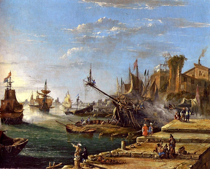 Landscape painting depicting the scene at a busy seaport.