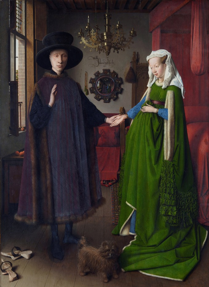 Double portrait of a man and woman hand in hand. The man is dressed in black and wearing a hat; the woman wears a vibrant green dress. One of the woman's hands rests on her rounded stomach, which might indicate that she is pregnant. There is a dog between the couple at their feet.