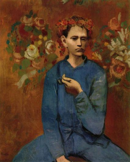 Oil on canvas painting depicts a Parisian boy holding a pipe in his left hand and wearing a garland or wreath of flowers.