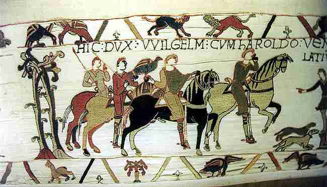 Photo of a segment of the whole tapestry, which depicts the events leading up to the Norman conquest of England.