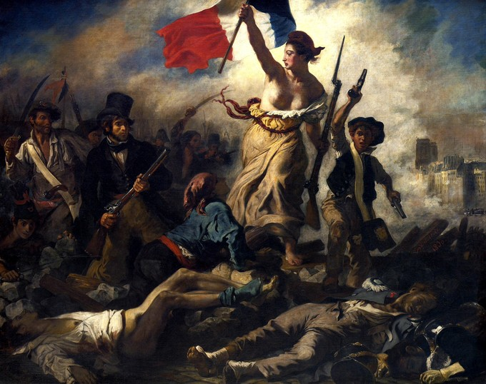 Oil painting on canvas. Women in a dress torn to reveal her nude chest stands over a pile of dead soldiers. With one hand, she waves France's red, white, and blue flag. With the other she brandishes a musket. Behind and to the side of her are other fighters, holding weapons.