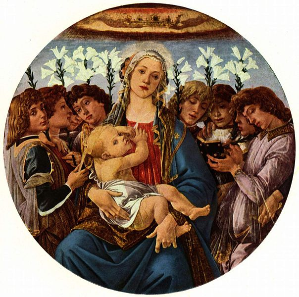 Painting with Virgin Mary at the center. She is sits holding the baby Jesus, and her gaze appears to wander. The baby's gaze is fixed on the view, as he plays with the veil Mary wears. The two are surrounded by eight angels, who appear to be singing. Each angel holds a white lily.