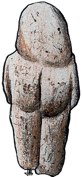 Drawing depicts a stone figurine of the human form.