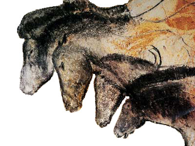 Cave painting that depicts the heads of four horses.