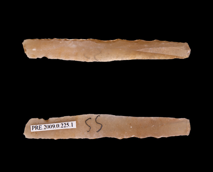 Photograph depicts the front and back view of a bladelet made of what appears to be flint.