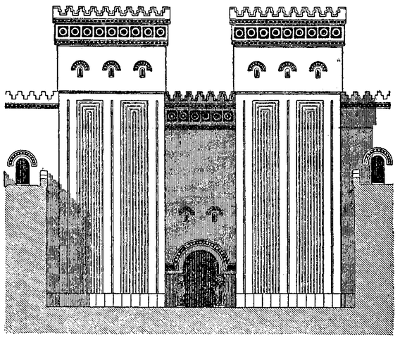 Drawing of the architecture of the Palace of Dur-Sharrukin, which shows archways and pillars.