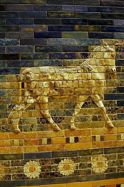 Photograph portrays a detailed close-up of a portion of the Ishtar Gate.