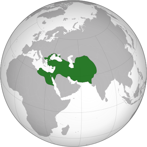 Map renders the Persian Empire in green. The colored area includes modern-day Iran, Iraq, Israel, Syria, Turkey, Pakistan, Afghanistan, and small portions of Egypt and India.