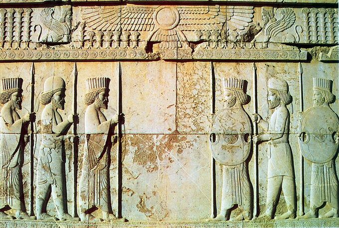 Photograph of a relief found inside the ruins of Persepolis.