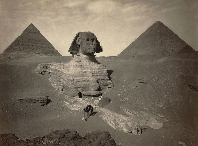 Photo depicts excavated sphinx statue.