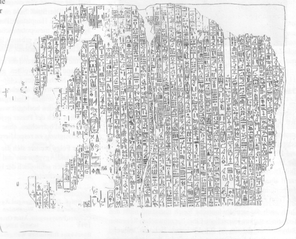 Drawing depicts the biggest fragment belonging to Annals of Amenemhat II.