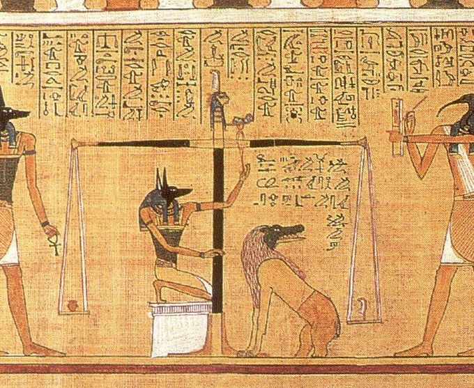 This detail scene, from the Papyrus of Hunefer (c. 1275 BCE), shows the scribe Hunefer's heart being weighed on the scale of Maat against the feather of truth, by the jackal-headed Anubis. The ibis-headed Thoth, scribe of the gods, records the result. If his heart equals exactly the weight of the feather, Hunefer is allowed to pass into the afterlife. If not, he is eaten by the waiting chimeric devouring creature Ammit composed of the deadly crocodile, lion, and hippopotamus.