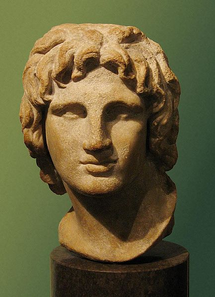 Photo depicts bust of Alexander the Great. His nose is wide and slightly assymetrical and his hair is thick and wavy.