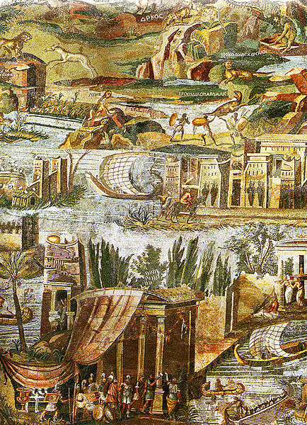 Close-up of a floor mosaic depicting the Nile in its passage from Ethiopia to the Mediterranean. Features detailed depictions of Ptolemaic Greeks, black Ethiopians in hunting scenes, and various animals of the Nile river.