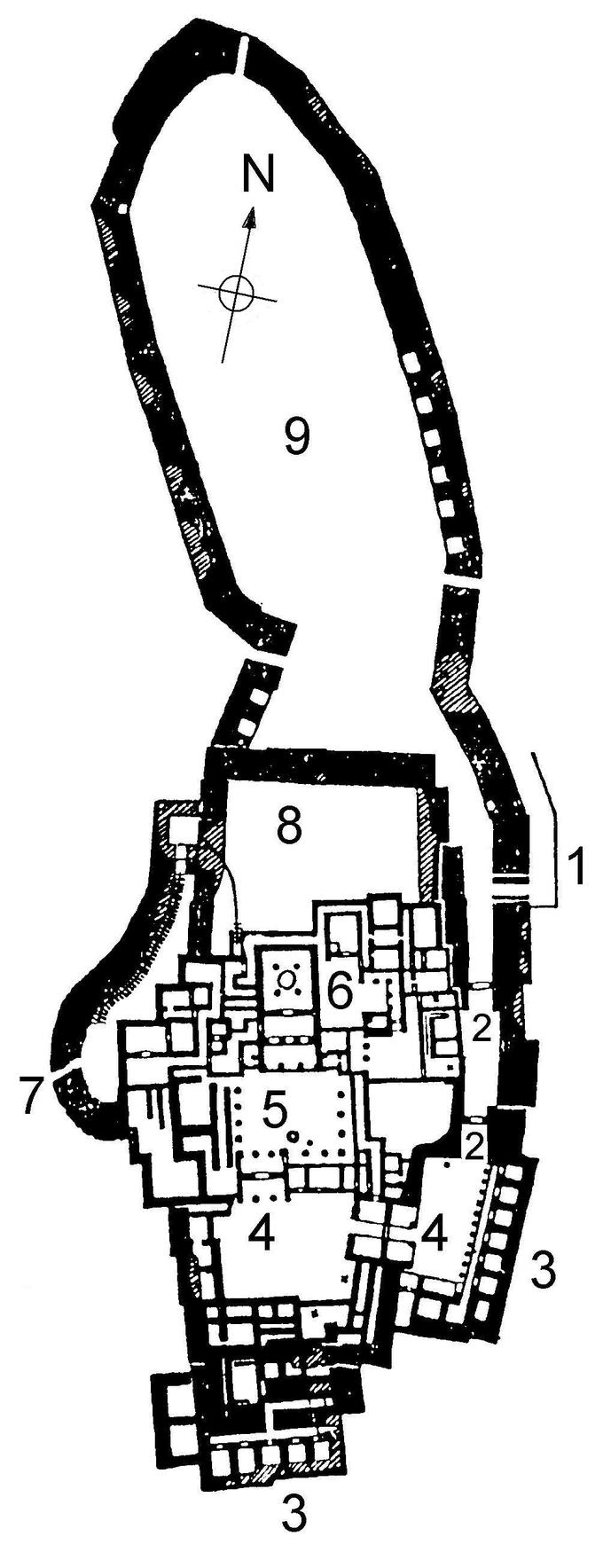 Drawing of the ground plan of the citadel of Tiryns, circa 1400–1200 BCE, in Tiryns, Greece.