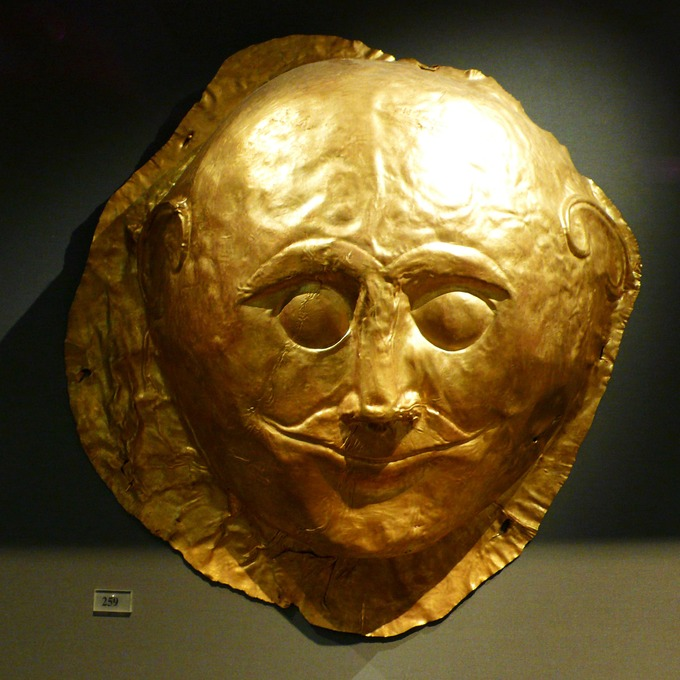 Color photograph of a gold Mycenaean death mask.