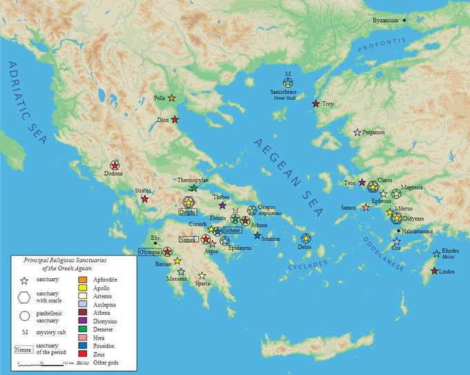 This map lists the major Greek gods and shows where their principal religious sanctuaries are located throughout the Greek Aegean region.