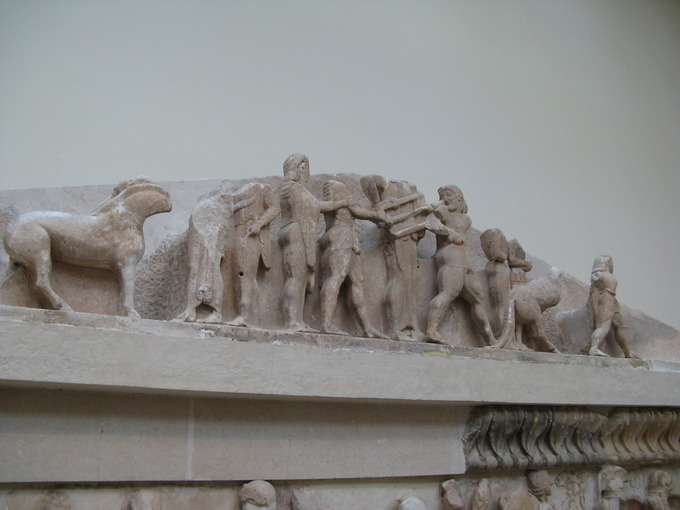 This is a photo of the east pediment of the Siphnian Treasury in Delphi, Greece.