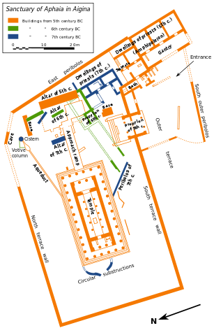 The ground plan of the Temple of Aphaia and the surrounding area.