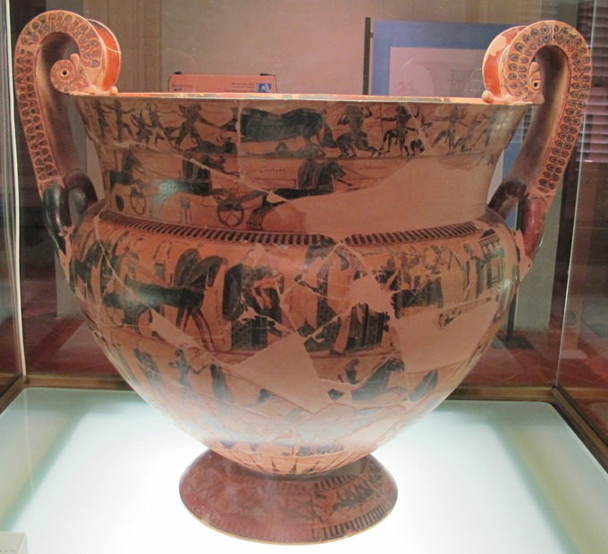 This is a color photo of the Francois Vase, a volute krater decorated with black figures.