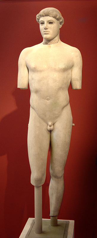 This is a photo of the statue Kritios Boy, a nude male figure.