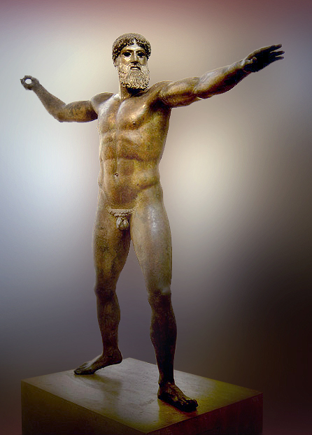 This is a photo of the Artemision Bronze figure that depicts either the bearded Zeus or Poseidon, nude with an idealized muscular body posed as though he is about to strike, arms outstretched.