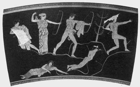 This is a photo of a painting of Artemis and Apollo slaying the children of Niobe. It is painted in red figure style on a krater.