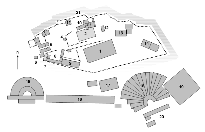 This is a ground plan of the Acropolis and its surrounding area, including the buildings described in the caption.