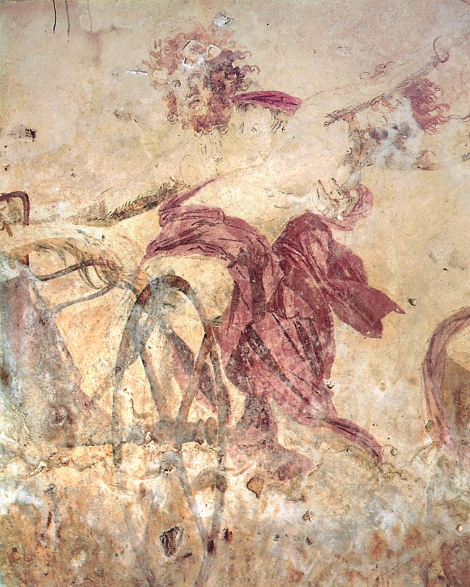 This is a photo of Hades Abducting Persephone. It depicts Hades as a bearded man with long, wild hair driving a chariot as he holds Persephone. Her red robe is slid down to reveal her nude torso.